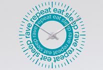 Nalepovací nástěnné hodiny 27 - eat sleep rave repeat