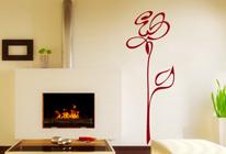 Samolepka na stěnu - Silueta růže