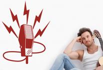 Samolepka na zeď - Starý mikrofon
