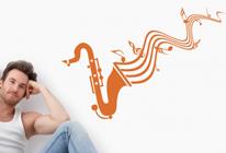 Samolepka na zeď - Hrající saxofón