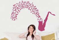 Samolepka na zeď - Saxofón s notami