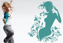 Samolepka na zeď - Dívka se sluchátky 03
