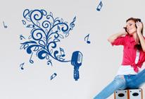 Samolepka na zeď - Malebný mikrofon