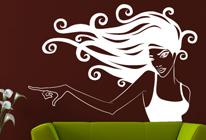Samolepka na zeď - Dívka s rozpuštěnými vlasy