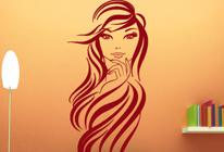 Samolepka na zeď - Dívka s dlouhými vlasy