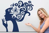 Samolepka na zeď - Květiny ve vlasech