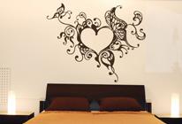 Samolepka na zeď - Srdce a motýli