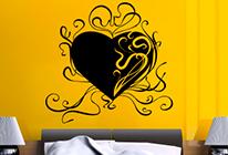 Samolepka na zeď - Srdce s krucánky