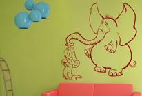 Samolepky na zeď - Slon a myš