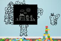 Samolepky na zeď - Zajíčci k rohu tabule