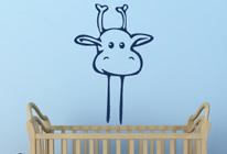 Samolepky na zeď - Vykukující žirafa
