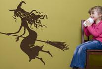 Samolepky na zeď - Čarodějnice na koštěti