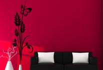 Samolepky na zeď - Květinový vzor s motýlem 02