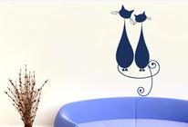 Samolepky na zeď - Kočka a kocour
