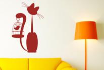 Samolepky na zeď - Kočka s klíckou