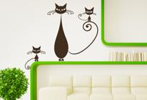 Samolepky na zeď - Kočka s koťaty