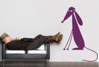Samolepky na zeď - Sedící pes