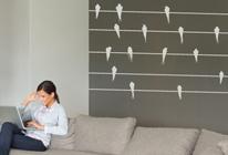 Samolepky na zeď - Vlaštovky na drátech