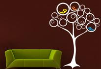 Samolepky na zeď - Ptačí hnízda na stromě - BARVA