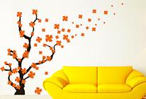 Samolepky na zeď - Kvetoucí strom ve větru - BARVA