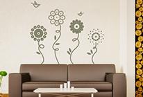 Samolepky na zeď - Květiny s ptáčky