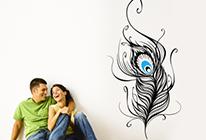 Samolepky na zeď - Paví pero - BARVA