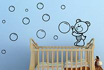 Samolepky na zeď - Medvídek s bublifukem