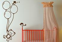 Samolepky na zeď - Medvídek s balónky