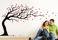 Samolepky na zeď - Strom ve větru 03 - BARVA