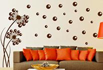 Samolepky na zeď - Pampeliška s bublinkami