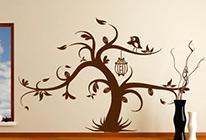 Samolepky na zeď - Ptačí klícka na stromě