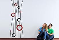 Samolepky na zeď - Dekorativní váza - BARVA