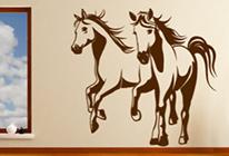 Samolepky na zeď - Běžící koně